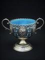 青い海色のガラスのボンボンバスケット ヴィクトリア時代