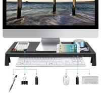 モニター台 机上台 パソコンスタンド 大容量 USBポート付き 収納 便利(ブラック)