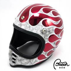 BACONヘルメット BEETLE MTX ホワイトxレッド(クロームベース)