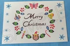 紅型柄プリントポストカード・クリスマスリース柄