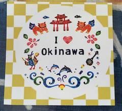 紅型柄ステッカー( I love Okinawa )