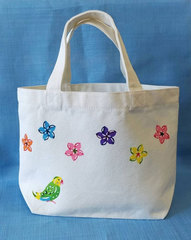 【ネット販売限定】キャンバスミニトートバッグ (プルメリアとセキセイインコ)