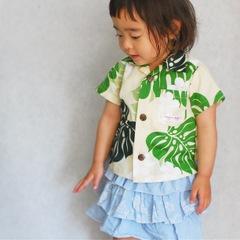 アロハシャツ|モンステラ緑|ベビー&キッズ