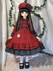 MSD女の子 水玉黒リボンのワンピースドレス