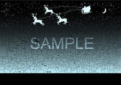 No388 クリスマス サンタクロース トナカイ 街 ブルー