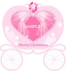 No392 クリスマス キラキラ かぼちゃの馬車 ピンク【AI】