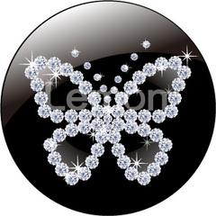 No.43 キラキラ 蝶 ダイヤモンド ブラック マーク