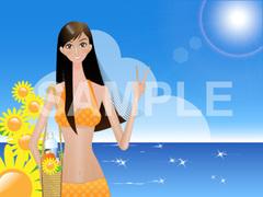 No.677 夏のイラスト 海と女と向日葵