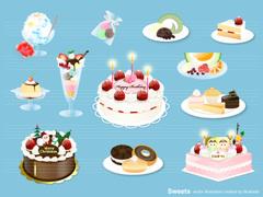 No.989 スイーツ デザート・ケーキのイラスト 【AI】