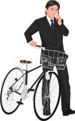 No.1020 自転車通勤の男性のイラスト