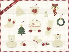 No1085 ナチュラルなクリスマスのイラスト 【AI】