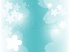 No1098 お洒落な桜のイラスト グリーン