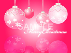 No.828 クリスマス イラスト 濃いピンク ロゴ入り