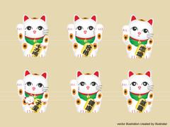 No902 正月 イラスト  招き猫 【AI】