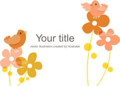 No.964 花と小鳥のイラスト ナチュラル