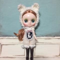 白ネコちゃんロンパースset(ミディサイズ)