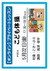 【オンライン】プライベートレッスンP0514 2020年5月22日(金) 17:30~18:00 こども体操(30) 2才~小6 高津 修平