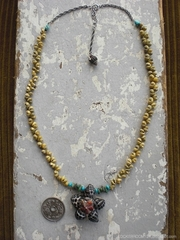 Grape Drupe in Turquoise TOP Green Mongo Necklace
