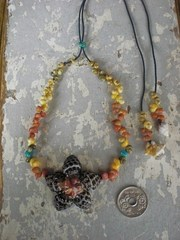 Grape Drupe TOP in Turquoise Necklace