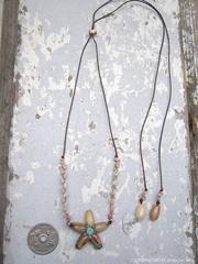 Olive Flower Top kahelelani & Zakuro Shell Necklace