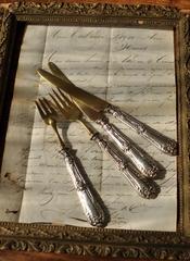 【682】フランス   純銀&真鍮のナイフ&フォーク
