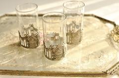 【2333】リボンとメダリオン装飾 クリスタルリキュールグラス