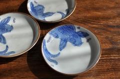 【1372】縁起物 桜と鯉の印判小皿 ※割外
