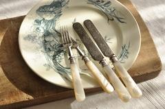 【2296】19世紀 白蝶貝 アフタヌーンティー用 ナイフ&フォーク