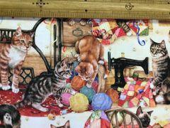 布「ネコとミシン・毛糸だま」