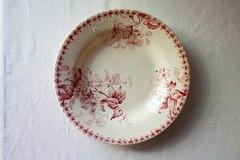 赤ボルドー窯フランスアンティークスープ皿
