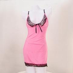 送料無料!bd_0012 -sexy lingerie in lace and lycre-黒のレース付ピンクのベビードール&Tバックのセット