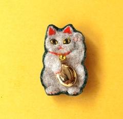 招き猫毛ブローチ(オーダー商品)
