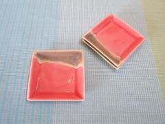 四角豆皿(ピンク) へ29-9-4
