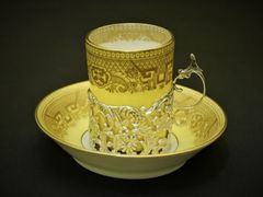 スターリングシルバー(純銀)英国貴族のコーヒーカップ&ソーサー