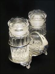 ガラスのプリザーブジャー(ペア) スタンド付き ヴィクトリア時代