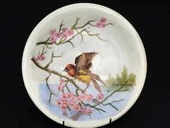 ヴィクトリア時代 躍動感あふれる鳥の絵皿 手彩色