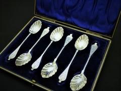 ヴィクトリア時代の貝殻のティースプーンセット スターリングシルバー アンティーク