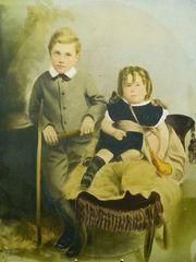 【在庫処分セール品】ヴィクトリア時代の子供の写真(手彩色)アンティーク