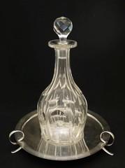 カットグラスのデカンタ(デカンタトレーを付けて)ヴィクトリア時代