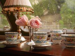薔薇のコーヒーセット(2人用)+花瓶+スプーン