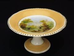 ヴィクトリア時代 ウォリック城の絵皿 手描き