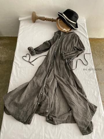 完売*ICHI Antiquites  墨染めKHADI COTTONのピンタックロングシャツドレス
