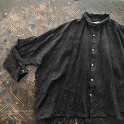 完売*ICHI Antiquites 東炊きリネンの長袖シャツ(BLACK GINGHAM)