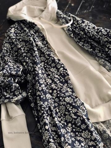 完売*ICHI Antiquites FlowerLinenのロングシャツドレス