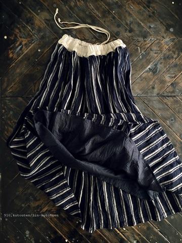 完売*ICHI Antiquites リネンストライプのギャザースカート(NAVY)