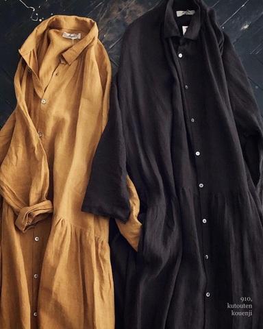 ICHI Antiquites カラーリネンのふんわりロングシャツドレス