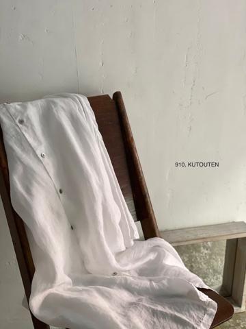 透け感のある9分袖スタンドカラーロングワイドシャツ