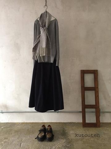 完売*クトウテンのミニマフ × trois temps 手織りカシミヤマフラー