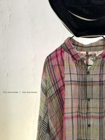 ラスト1点*ICHI Antiquites カラフルリネンチェックのふんわりシャツ