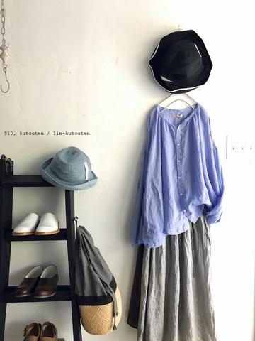 完売*ICHI Antiquites 東炊きリネンのふんわり長袖シャツ